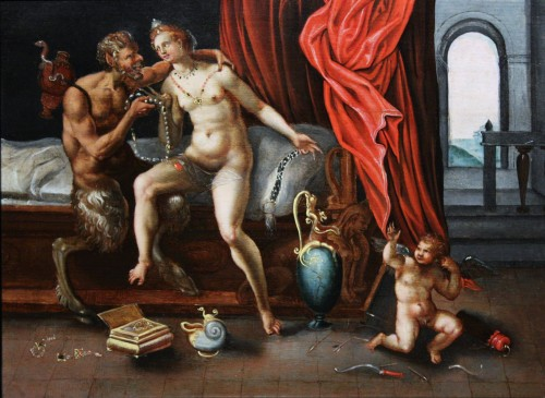 16th c. Flemish school, Satyr and Nymph, oil on panel