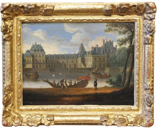 View Of The Palace Of Fontainebleau - French School Circa 1660  - Paintings & Drawings Style Louis XIV