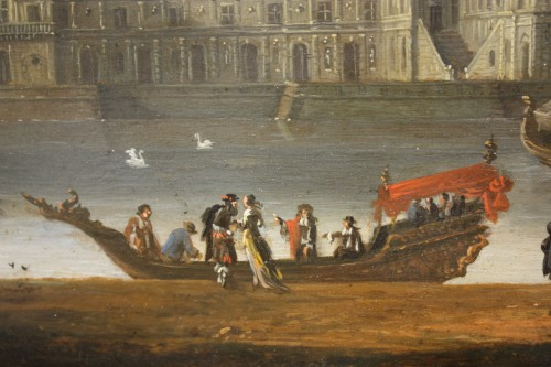 17th century - View Of The Palace Of Fontainebleau - French School Circa 1660
