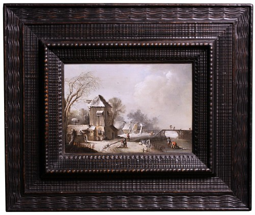 Winter Landscape at the farm, Circle of Klaes Molenaer, 17th Century - Paintings & Drawings Style Louis XIII
