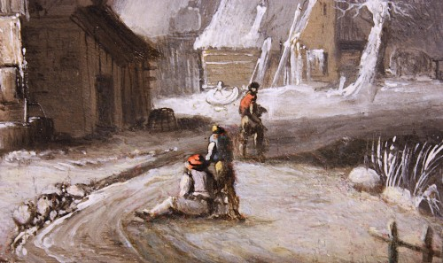 Paintings & Drawings  - Winter Landscape at the farm, Circle of Klaes Molenaer, 17th Century