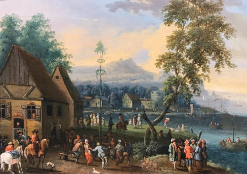 A Village Kermesse With Maypole, Attributed To Mathys Schoevaerdts, 17th c.