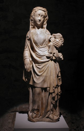 A mid-14th c. stone figure of Virgin and Child - Sculpture Style Middle age