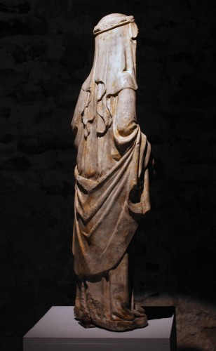 Sculpture  - A mid-14th c. stone figure of Virgin and Child