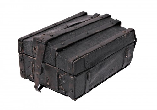 A French 15th c. leather and iron banded casket