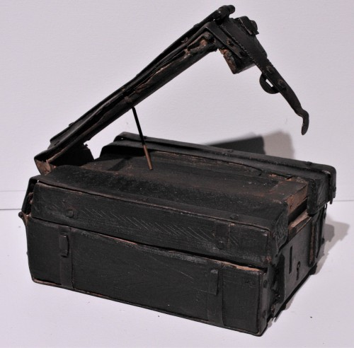 Curiosities  - A French 15th c. leather and iron banded casket