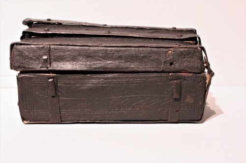 A French 15th c. leather and iron banded casket -