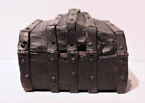 11th to 15th century - A French 15th c. leather and iron banded casket