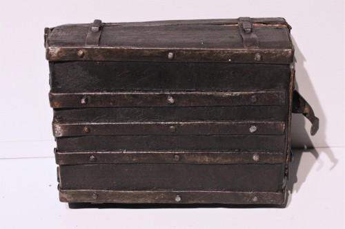 Middle age - A French 15th c. leather and iron banded casket