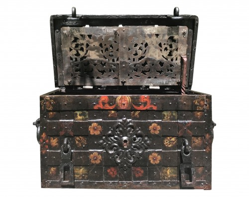 A 17th c. Nuremberg polychrome iron chest