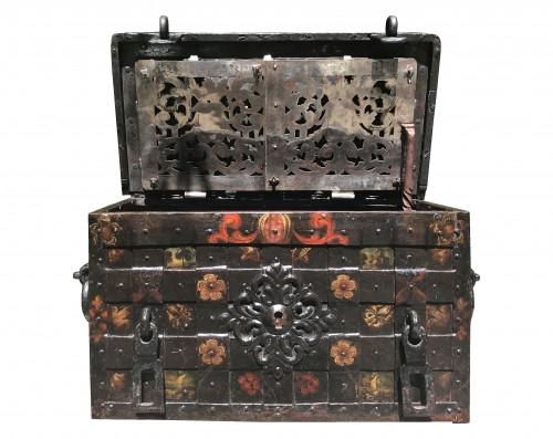 A 17th c. Nuremberg polychrome iron chest
