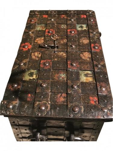 A 17th c. Nuremberg polychrome iron chest -