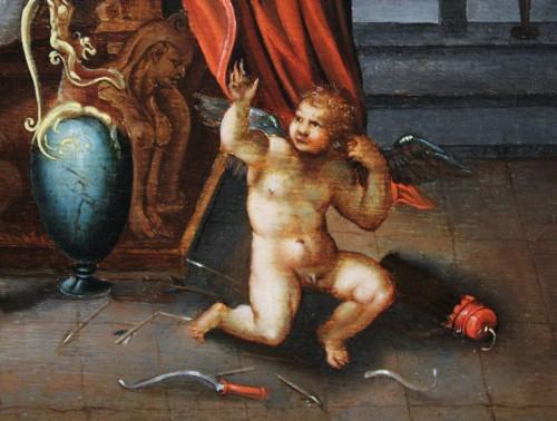 Paintings & Drawings  - 16th c. Antwerp school, Venus - Satyr and Cupid