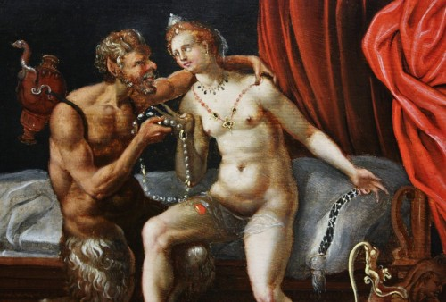 16th c. Antwerp school, Venus - Satyr and Cupid -