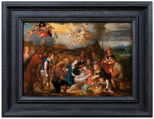 Adoration of the shepherds, workshop Louis de Caullery, early 17th century - Paintings & Drawings Style Louis XIII