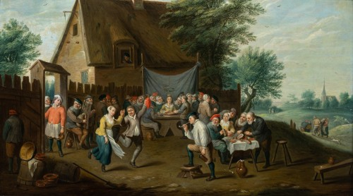 Village wedding attributed to D. Teniers, 17th century - Paintings & Drawings Style Louis XIV