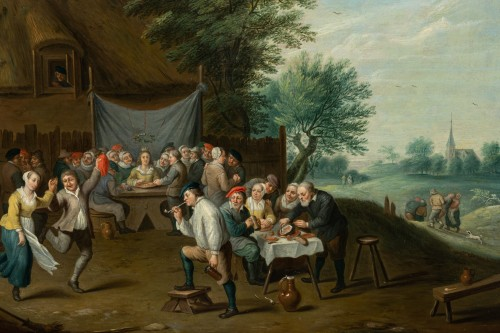Village wedding attributed to D. Teniers, 17th century - Louis XIV