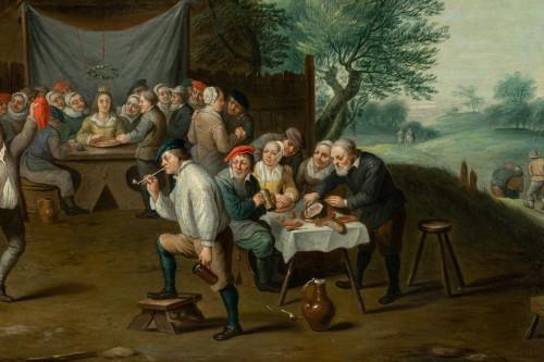 Antiquités - Village wedding attributed to D. Teniers, 17th century