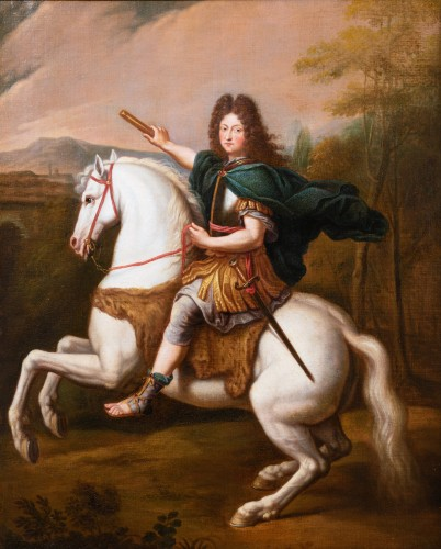 Equestrian portrait of Philippe of Orleans, workshop of Pierre Mignard - Paintings & Drawings Style Louis XIV