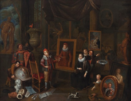 Artist's studio, attributed to Gerard Thomas (Antwerp, 1663 -1720)