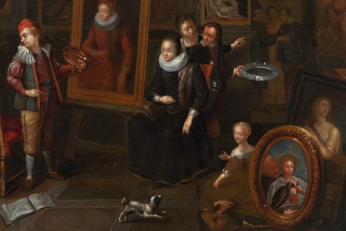 17th century - Artist's studio, attributed to Gerard Thomas (Antwerp, 1663 -1720)