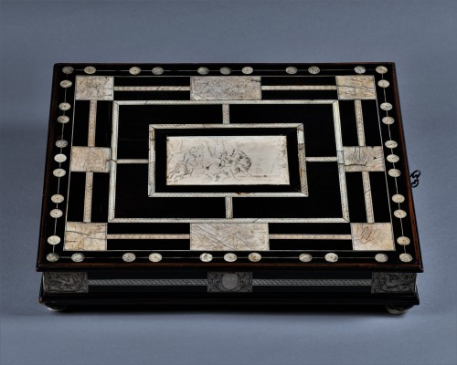 A 17th c. Neapolitan ebony and ivory writing slop -