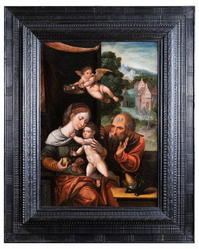 Holy family with an angel, workshop Pieter Coecke Van Aelst (1502-1550)