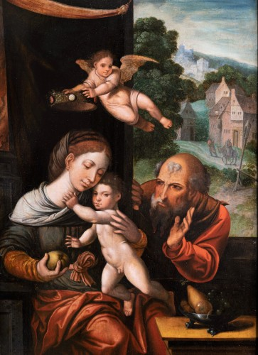 Holy family with an angel, workshop Pieter Coecke Van Aelst (1502-1550) - Paintings & Drawings Style Renaissance