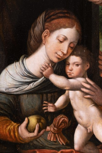 Holy family with an angel, workshop Pieter Coecke Van Aelst (1502-1550) - Renaissance