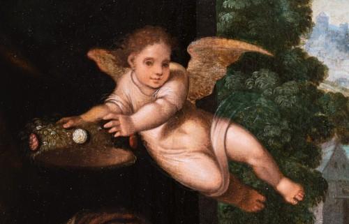 Antiquités - Holy family with an angel, workshop Pieter Coecke Van Aelst (1502-1550)