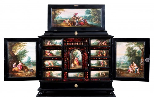 17th c. Antwerp cabinet with painted panels attributed to H. Van Balen