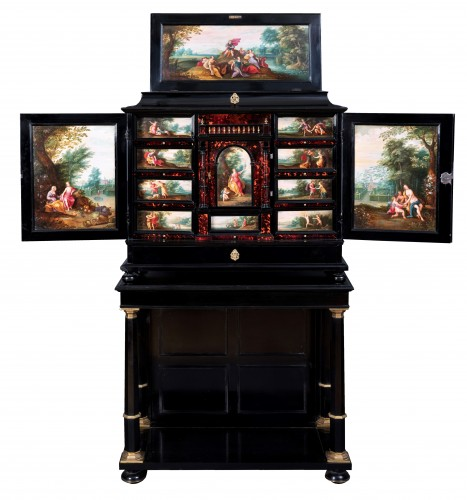 17th c. Antwerp cabinet with painted panels attributed to H. Van Balen - Furniture Style Louis XIII