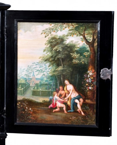 Furniture  - 17th c. Antwerp cabinet with painted panels attributed to H. Van Balen