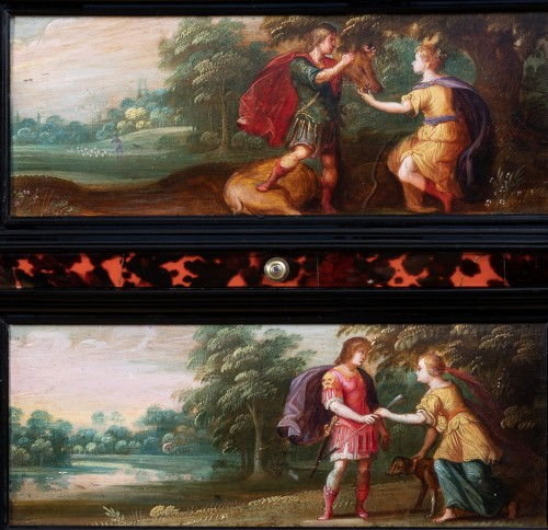 Louis XIII - 17th c. Antwerp cabinet with painted panels attributed to H. Van Balen
