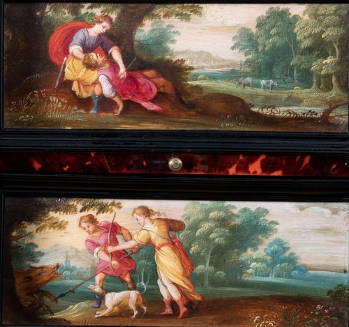Antiquités - 17th c. Antwerp cabinet with painted panels attributed to H. Van Balen