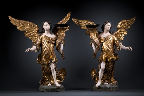 A 17th c. North Italian pair of candle-holder angels - Sculpture Style Louis XIII