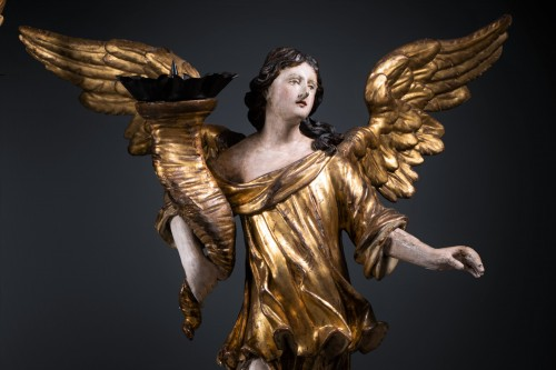 A 17th c. North Italian pair of candle-holder angels -