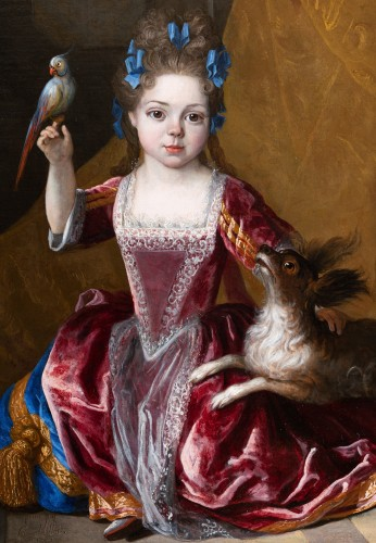 Portrait of a young girl, signed H. Millot, dated 1700 - Paintings & Drawings Style Louis XIV