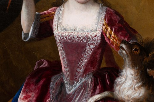 18th century - Portrait of a young girl, signed H. Millot, dated 1700