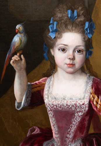 Antiquités - Portrait of a young girl, signed H. Millot, dated 1700