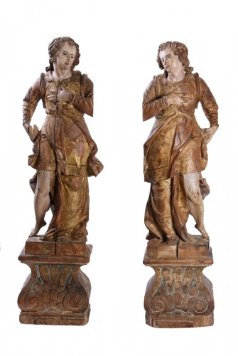 Pair Of Wooden Angels, Italy, 17th Century