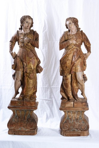 Pair Of Wooden Angels, Italy, 17th Century - Sculpture Style Louis XIII