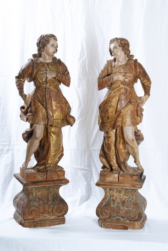 Sculpture  - Pair Of Wooden Angels, Italy, 17th Century