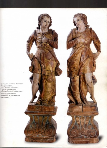 Pair Of Wooden Angels, Italy, 17th Century - Louis XIII