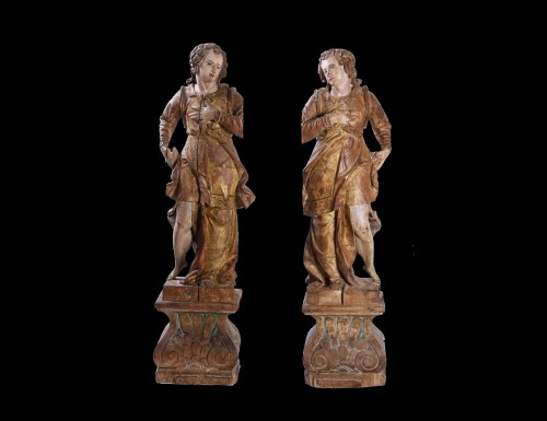 Antiquités - Pair Of Wooden Angels, Italy, 17th Century