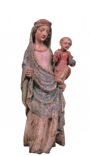 Wooden Sculpture, Madonna And Child, 15th Century