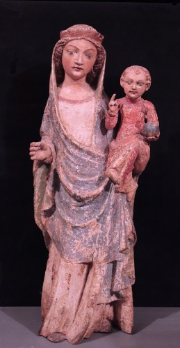 Wooden Sculpture, Madonna And Child, 15th Century - Sculpture Style Renaissance