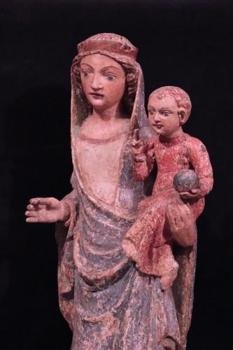 Wooden Sculpture, Madonna And Child, 15th Century -