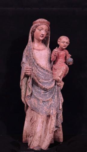 Wooden Sculpture, Madonna And Child, 15th Century - Renaissance