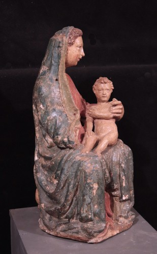 <= 16th century - Polychrome stucco sculpture: Virgin and the child, Siena, 15th century